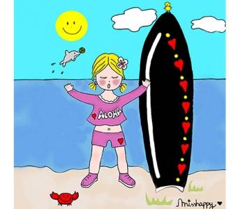 Surfer little girl
