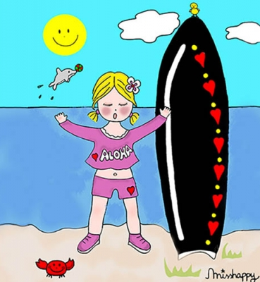 Surfer little girl